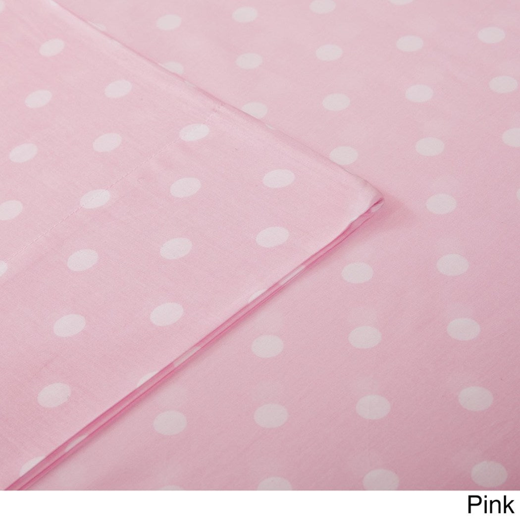 Girls Polka Dot Pocket Sheet Set Dot Design Circles Teen Bedding Kids Bedroom Bold Fun Contemporary