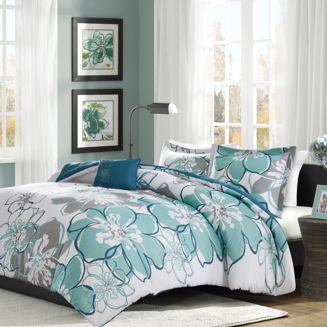 Floral Motif Duvet Cover Set Modern Bedrooms Gorgeous Traditional Large Flower Pattern Casual Contemporary Bedding Vibrant