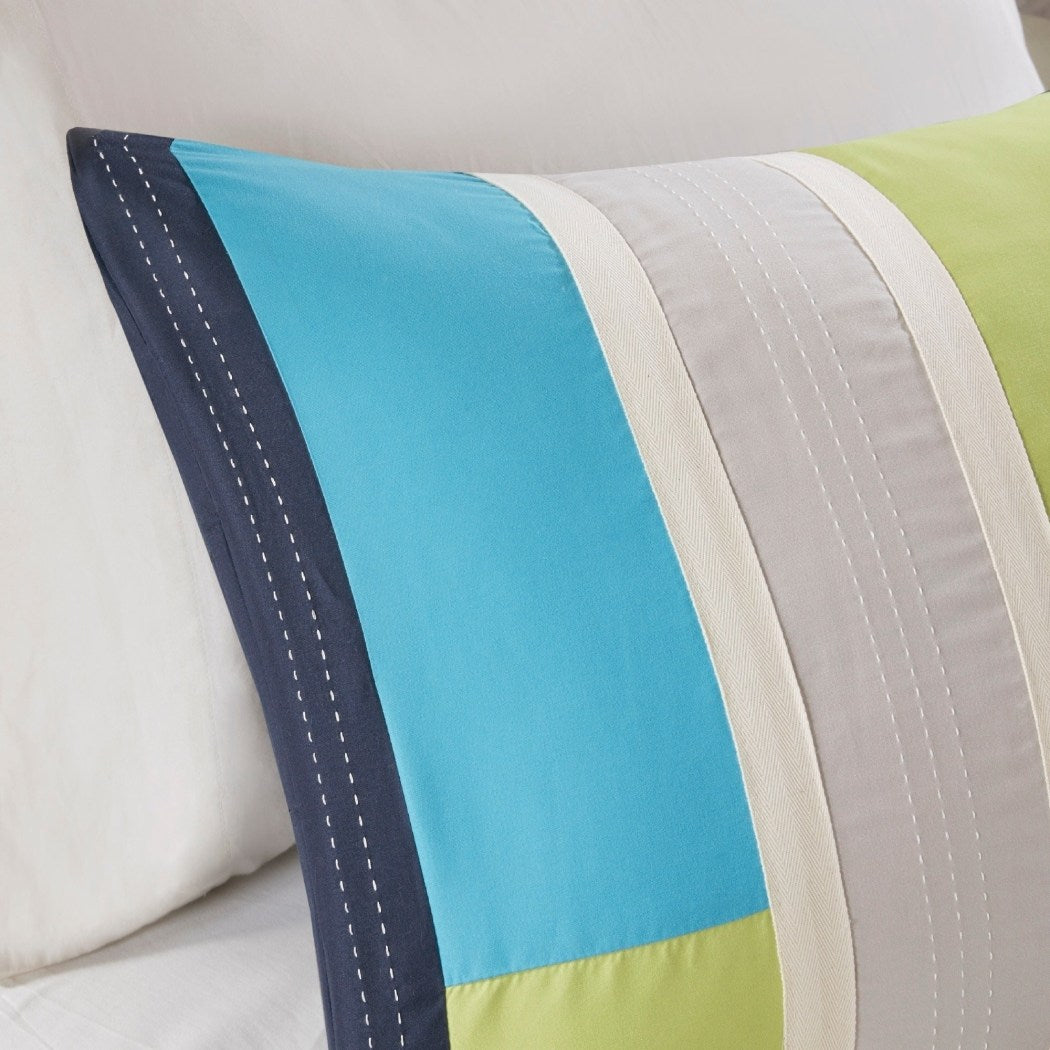 Striped Comforter Set Geometric Pattern Rugby Stripes Modern Circuit Design Vibrant Bedding Boys Rectangle Blocks