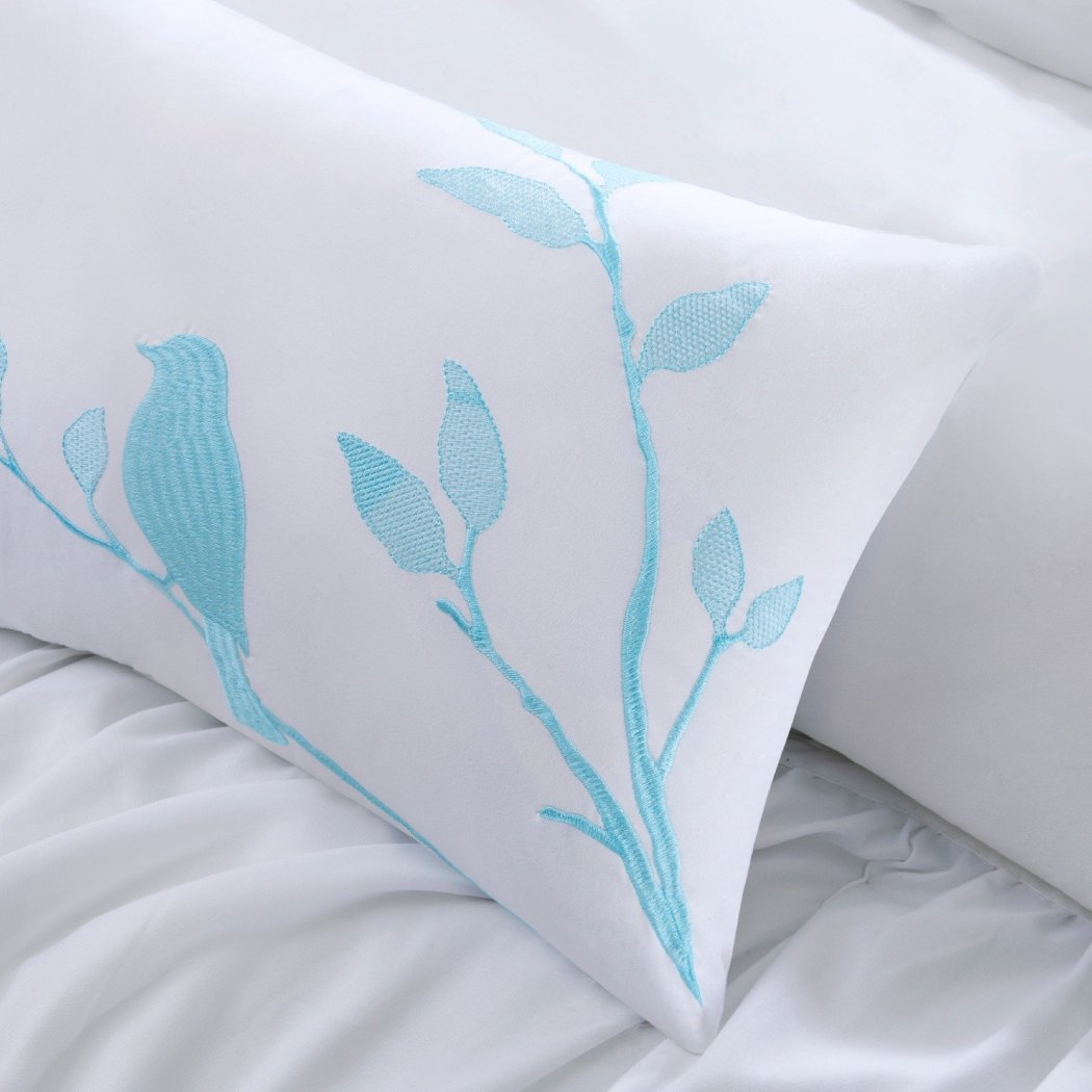Ruched Stripes Pattern Comforter Set Elegance Luxurious Ruffled Design Embroidered Leaf Bird Motif Decorative Pillow Features