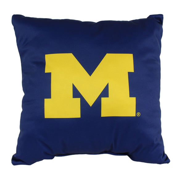 Michigan Wolverines 16 Inch Decorative Throw Pillow Multi Color Sports Traditional Polyester One Single Reversible - Diamond Home USA