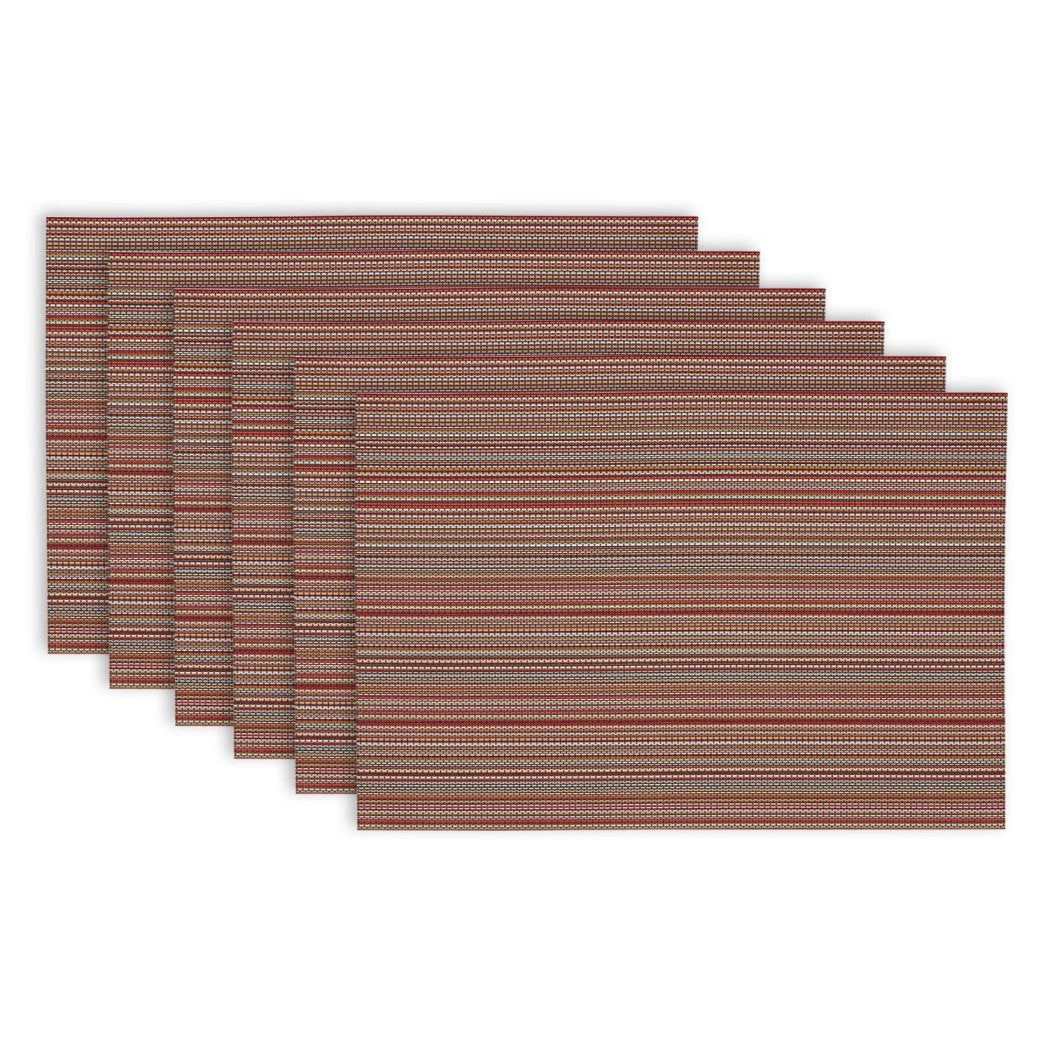 Stripes Pattern Placemats Set Horizontal Rugby Stripe Inspired Design Rectangle Shape Place Mats Fringed Design Borders Features Machine Wash Easy