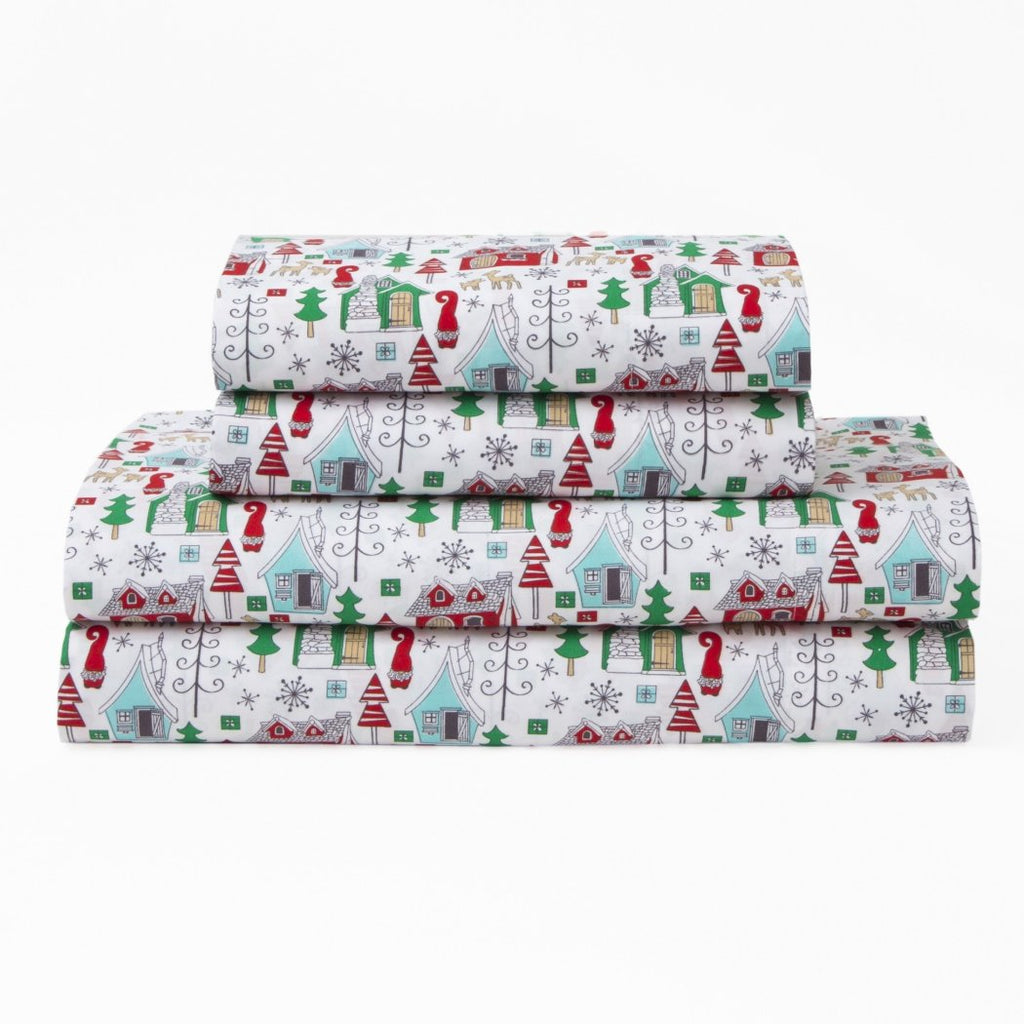 Chalet Village Sheets Set House Snowflake Holiday Christmas Winter Nights Novelty Char