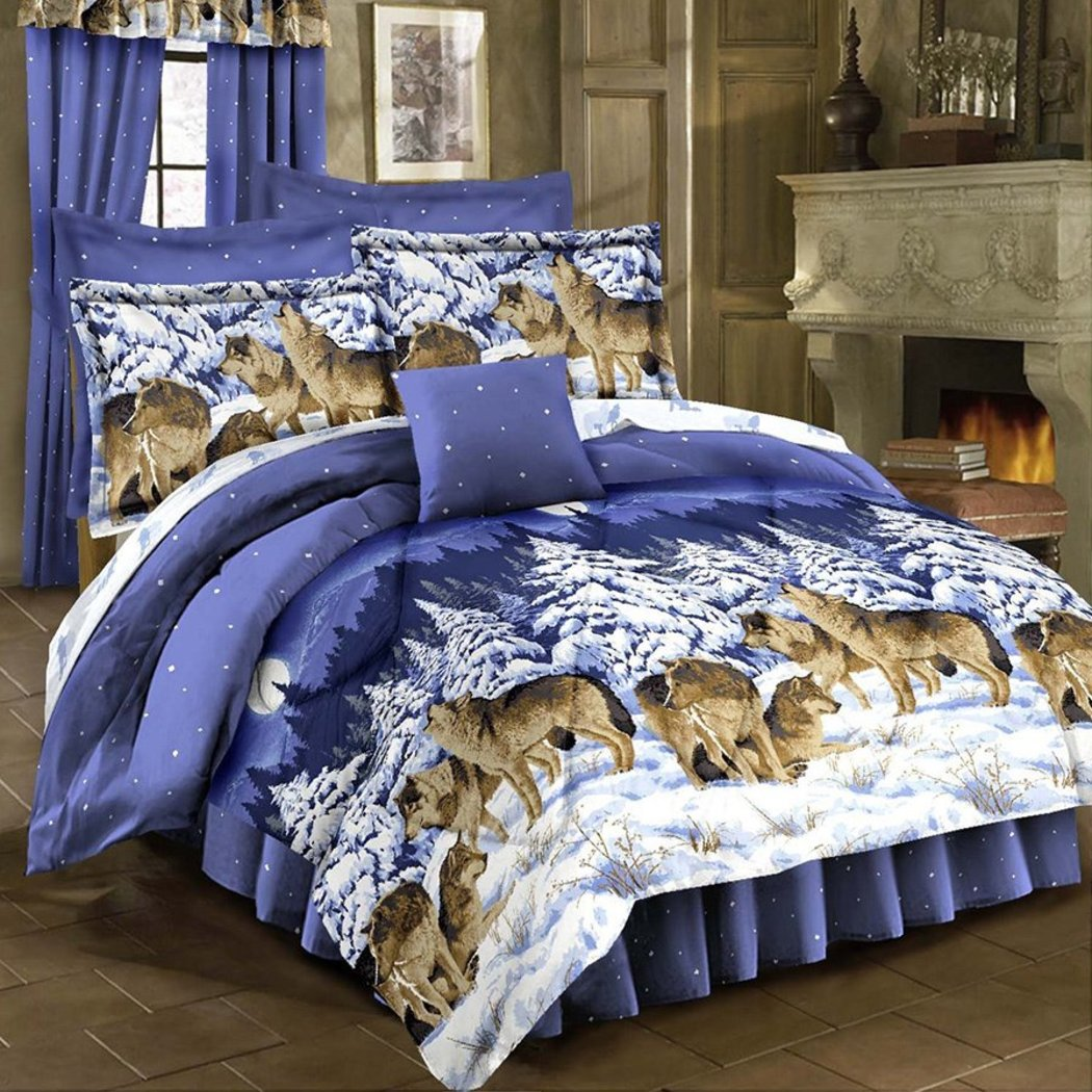 Kids Howling Wolves Comforter Set Snow Wild Animal Pattern Hunting Wolves Flock Northern Country Bedding Bedding