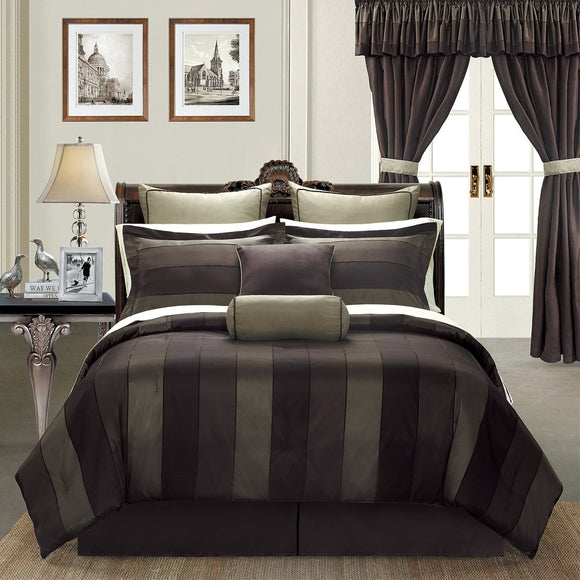 Luxurious 24 Piece King Comforter Collection Chocolate Brown Black Charcoal Grey Sheet Drape Set Bold Striped Pattern Stylish Elegant Perfect Master - Diamond Home USA