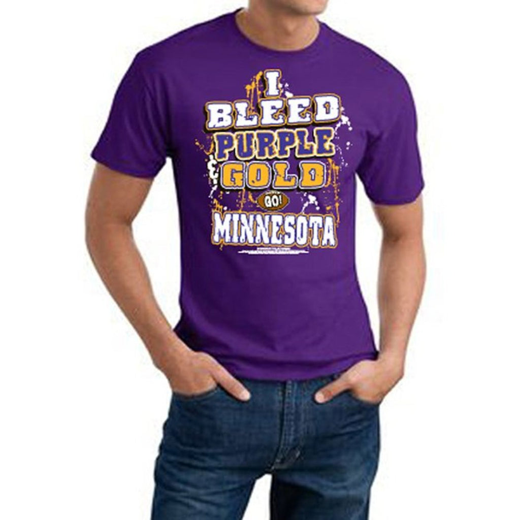 Mens NFL Vikings T Shirt Extra Large Double Football Sports Tee Football Themed Clothing I Bleed Slogan