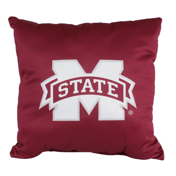 Mississippi State Bulldogs 16 Inch Decorative Throw Pillow Multi Color Sports Traditional Polyester One Single Reversible - Diamond Home USA
