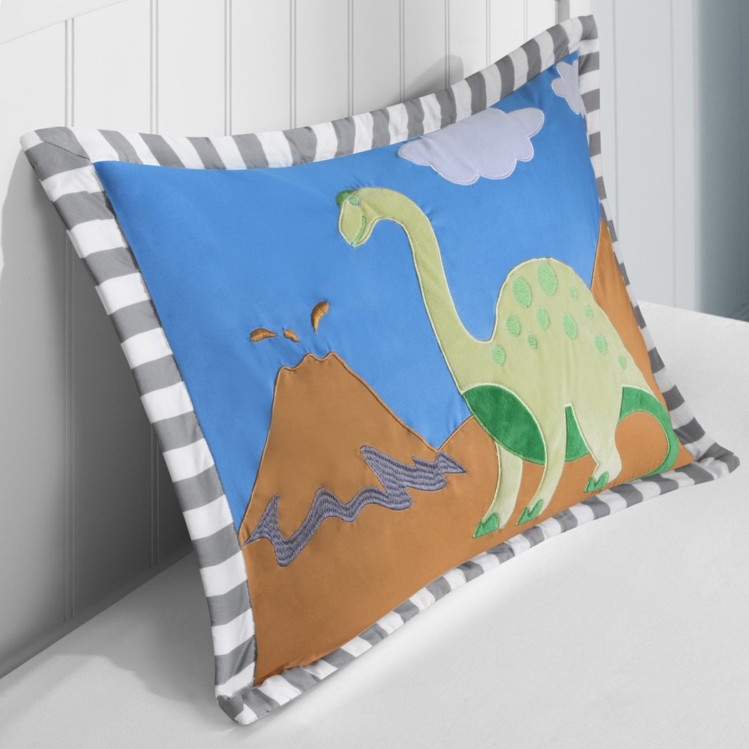 Boys Dinosaur Theme Comforter Set Fun Dino Volcano Bedding Jurassic Age Sharp Tooth Brontosaurus Stegosaurus Long Neck Mountain
