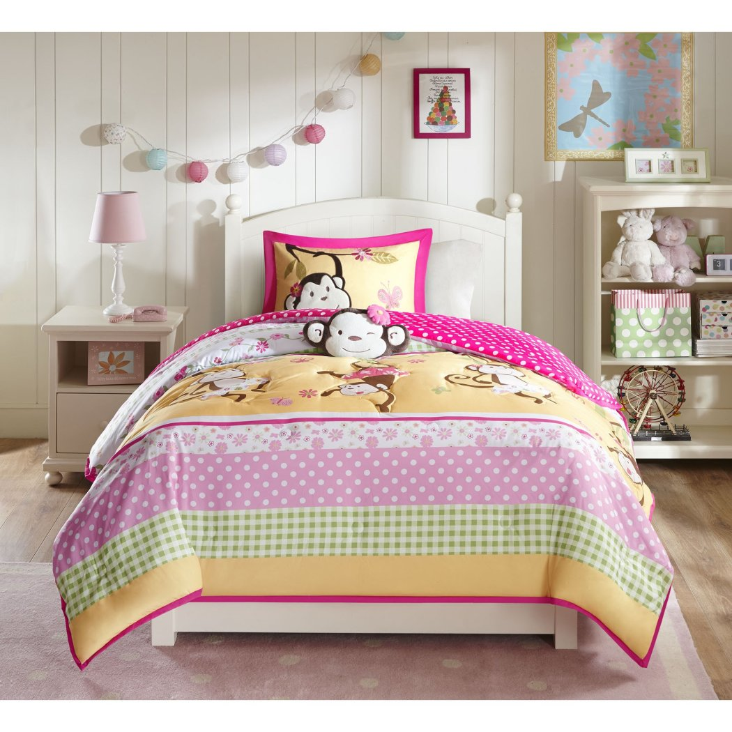 Girls Comforter Set Decorative Pillow Fun Monkey Themed Bedding Stripes Polka Dots Flower Jungle Butterflies Ballet