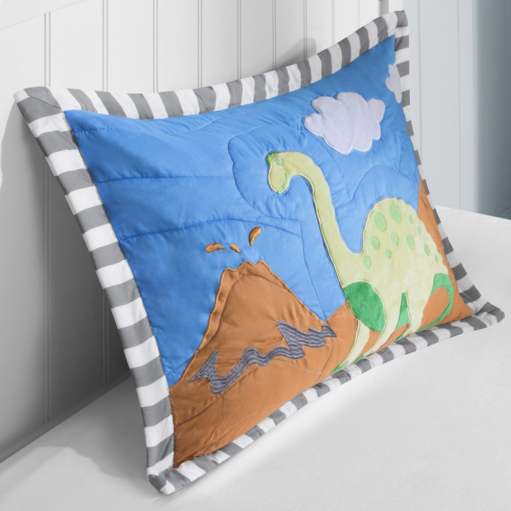 Boys Dinosaur Theme Coverlet Set Fun Dino Volcano Bedding Jurassic Age Sharp Tooth Brontosaurus Stegosaurus Long Neck Mountain Themed Pattern