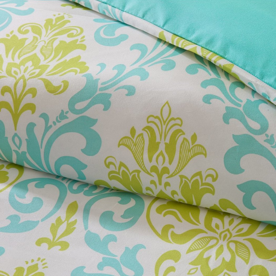 Girls Damask Duvet Set Pretty Floral Bedding Girly Boho Chic Pattern Vibrant Medallion Foliage Flower Motif Green