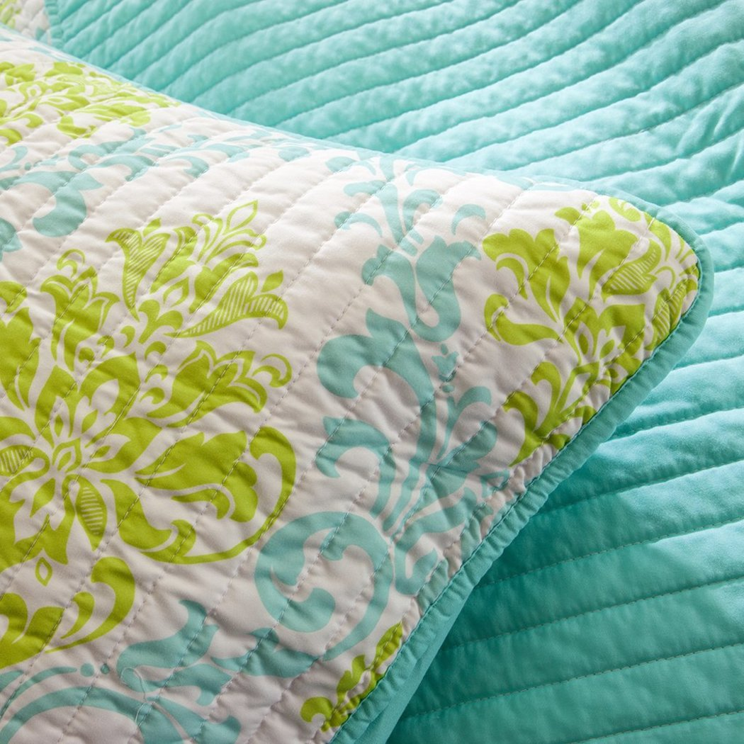 Girls Damask Quilt Set Pretty Floral Bedding Girly Boho Chic Pattern Vibrant Medallion Foliage Flower Motif Green