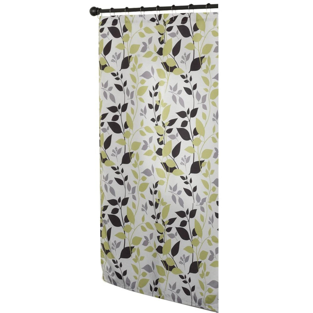 Olive Green Black Graphical Nature Themed Shower Curtain Polyester Lightweight Detailed Leaf Printed Abstract Floral Pattern