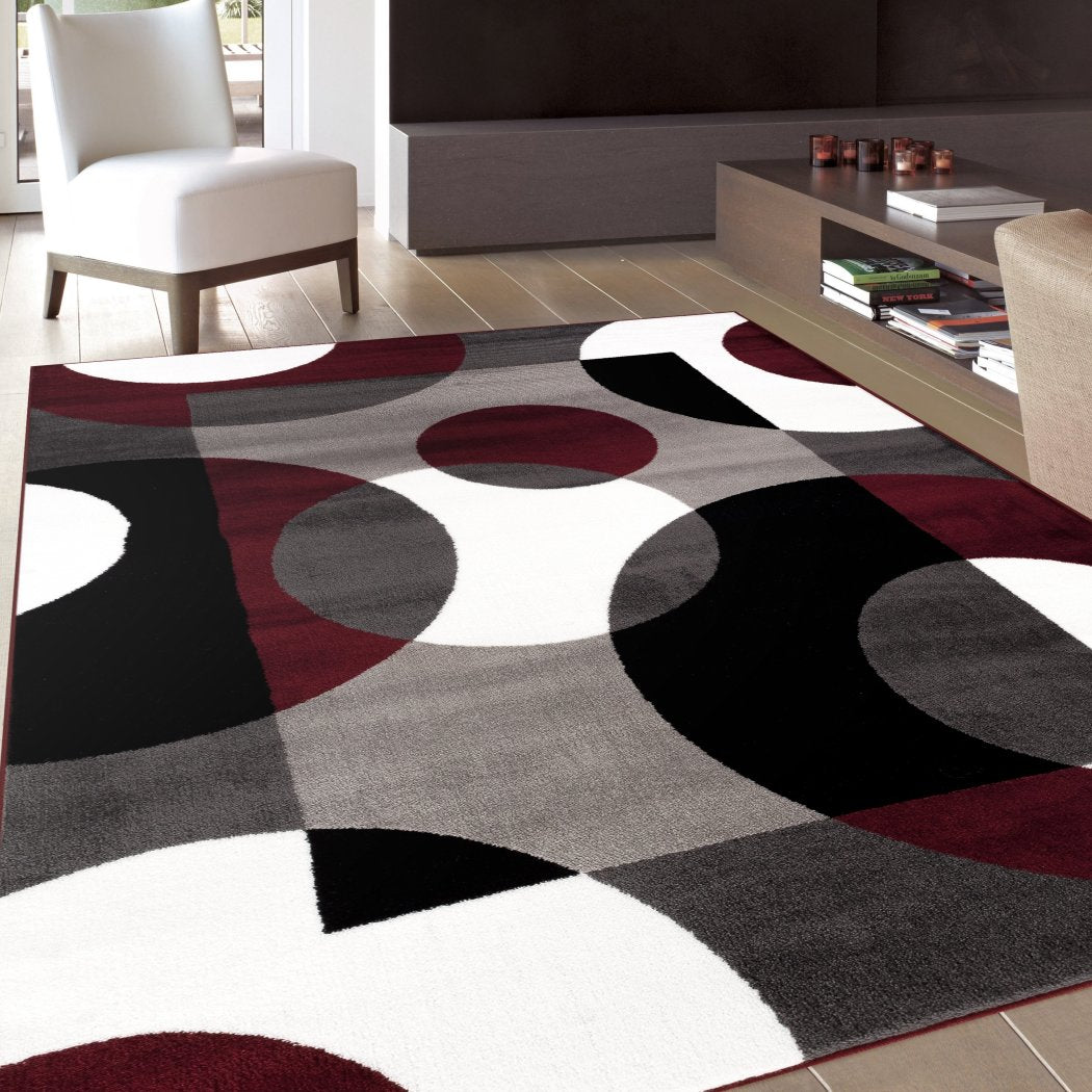 "3'3""x5'ft Burgundy Grey White Black Gray Colored Geometric Circles Modern Area Rug Indoor Abstract Living Room Mat Rectangle Carpet Artistic Bold - Diamond Home USA"
