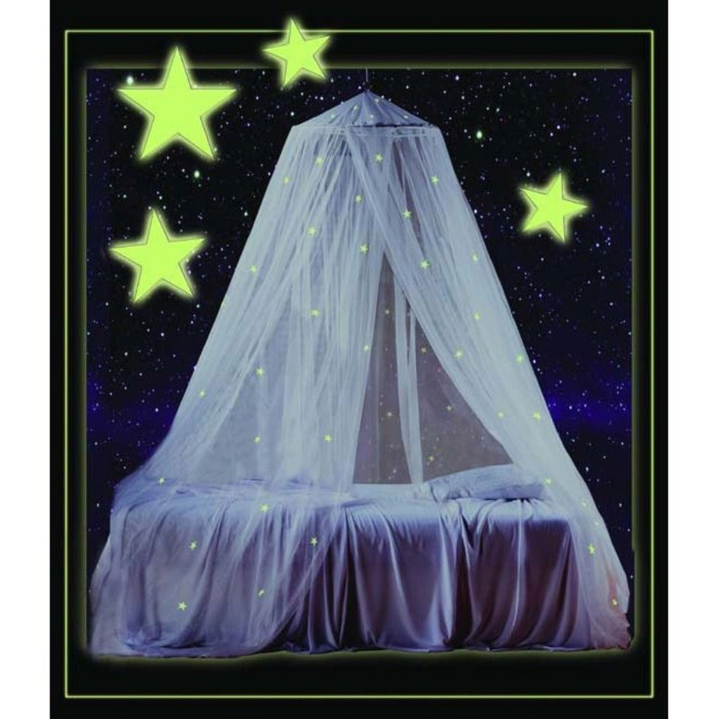 Childrens Girls Pretty Princess White Glow Dark Canopy Glowing Stars Night Time Bed Frame Draperies Over Hanging Floor Canopies Drapes Sleeping - Diamond Home USA