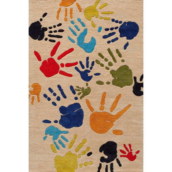 Kids Fingerpai Collage Area Rug Rectangle Indoor Geometric Handpri Collage Carpet Mat Abstract Artistic