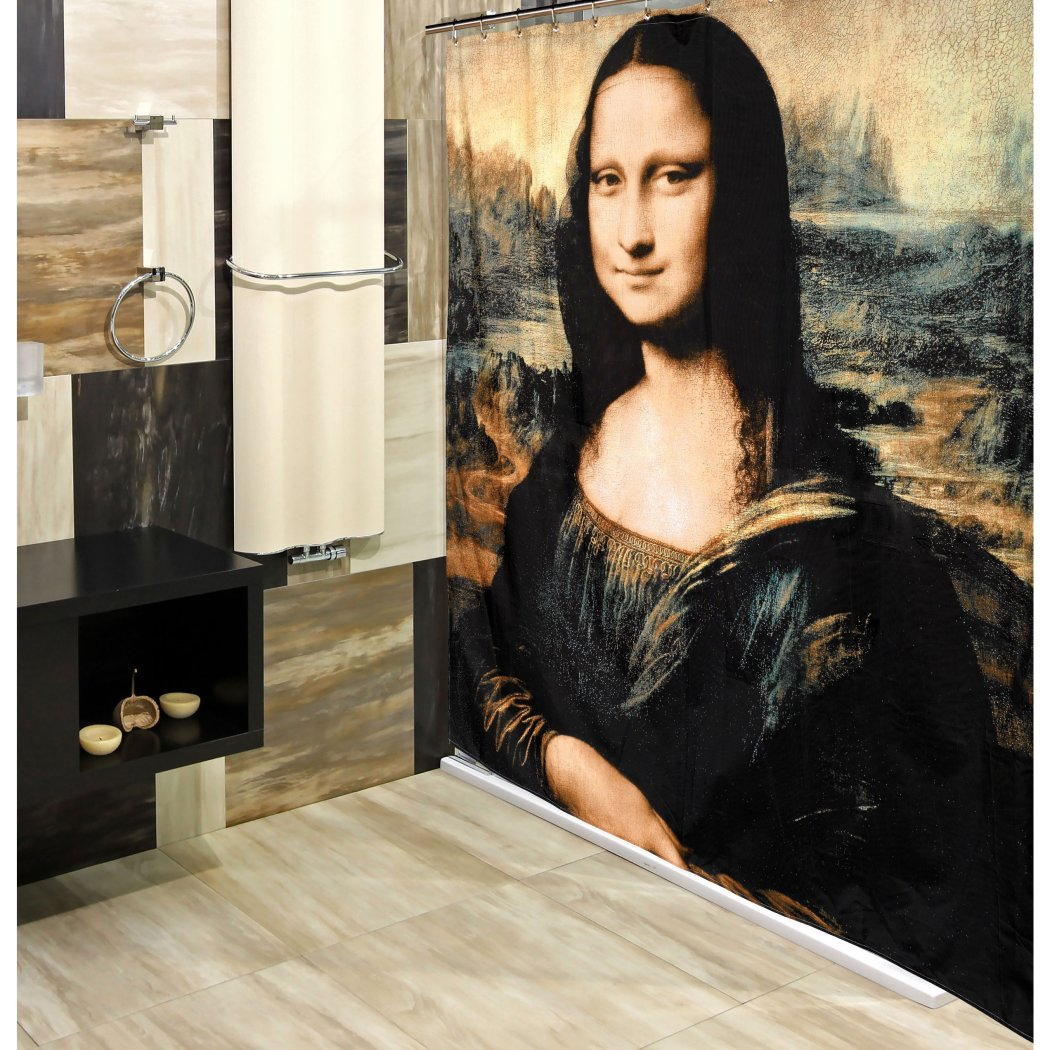 Black Brown Cream Graphic Art Themed Shower Curtain Polyester Detailed Colorful Mona Lisa Printed Abstract Graphical Pattern Modern Elegant Design - Diamond Home USA