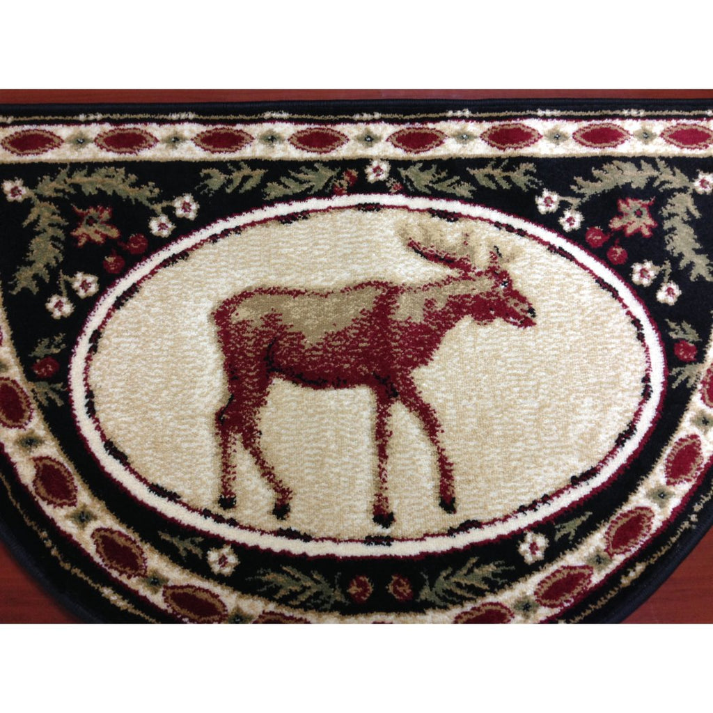 Wildlife Moose Hearth Rug Fireplace Carpet Hunting Themed Half Moon Circle Mat Use at Cabin Lodge Cottage Country Animal Nature Wild Southwestern Red - Diamond Home USA