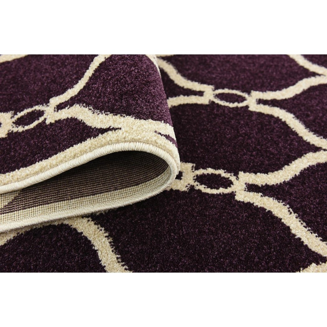 Crafted Purple Trellis Pattern Area Rug (3'2 x 5'2) Gorgeous Geometric Texture Design Persian Luxurious Comfort Plum Colored Floor Carpet - Diamond Home USA