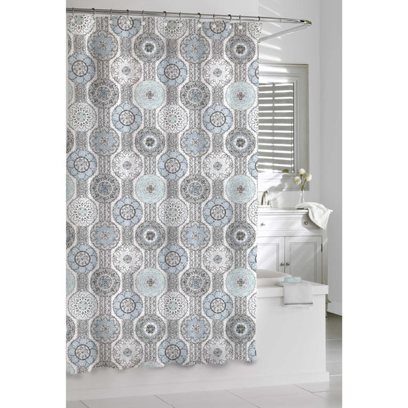Blue Silver Geometric Pattern Shower Curtain Mosaic Themed Exotic Colorful Palette Cotton Muted Colors Modern Elegant Design - Diamond Home USA