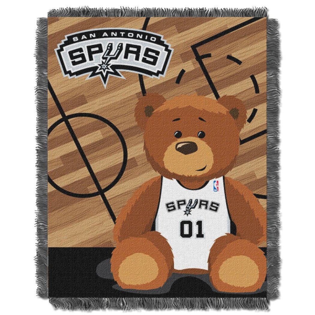 NBA San Antonia Spurs Throw Blanket 36x46 Black Silver White Sports & Collegiate Pattern Acrylic Soft Touch Team Logo Sports Themed Perfect Living - Diamond Home USA