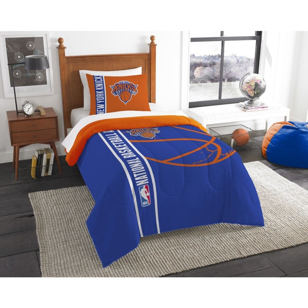 Kids NBA Atlantic Knicks Twin Comforter Set New York Madison Square Garden Blue Orange Sports Bedding Knicks Merchandise Team Spirit Basketball Themed - Diamond Home USA