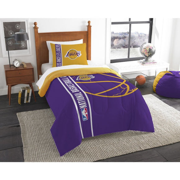 Kids NBA Pacific Lakers Twin Comforter Set Los Angeles Staples Center Purple Gold White Sports Bedding Lakers Merchandise Team Spirit Basketball - Diamond Home USA