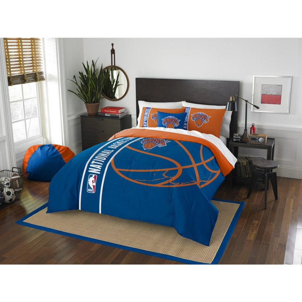 Kids NBA Atlantic Knicks Full Comforter Set New York Madison Square Garden Blue Orange Sports Bedding Knicks Merchandise Team Spirit Basketball Themed - Diamond Home USA