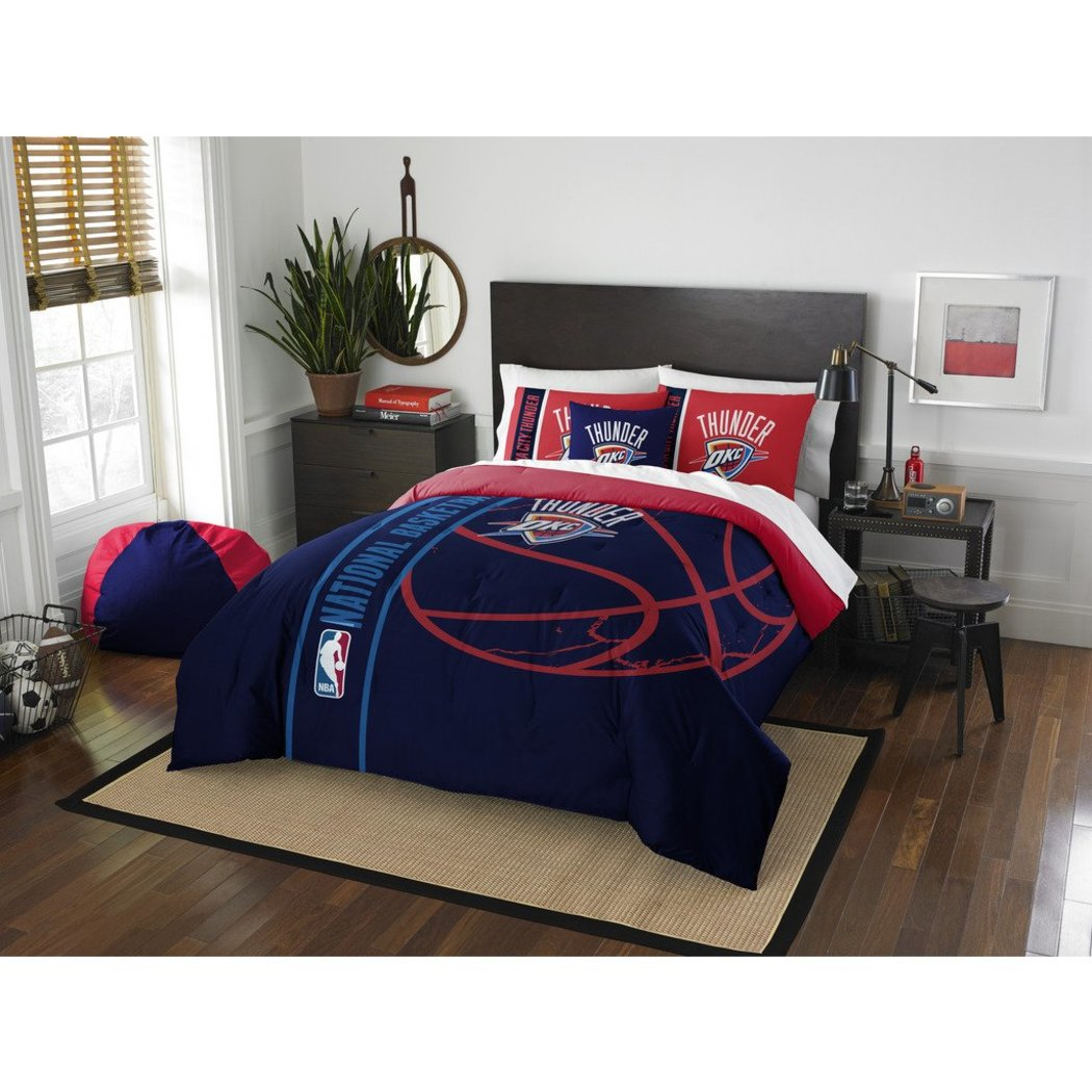 Kids NBA Northwest Thunder Full Comforter Set Oklahoma City Chesapeake Energy Blue Red Sports Bedding Thunder Merchandise Team Spirit Basketball - Diamond Home USA