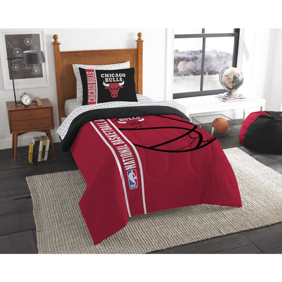 Kids NBA Central Bulls Twin Comforter Set Chicago Illinois United Center Red Black White Sports Bedding Bulls Merchandise Team Spirit Basketball - Diamond Home USA
