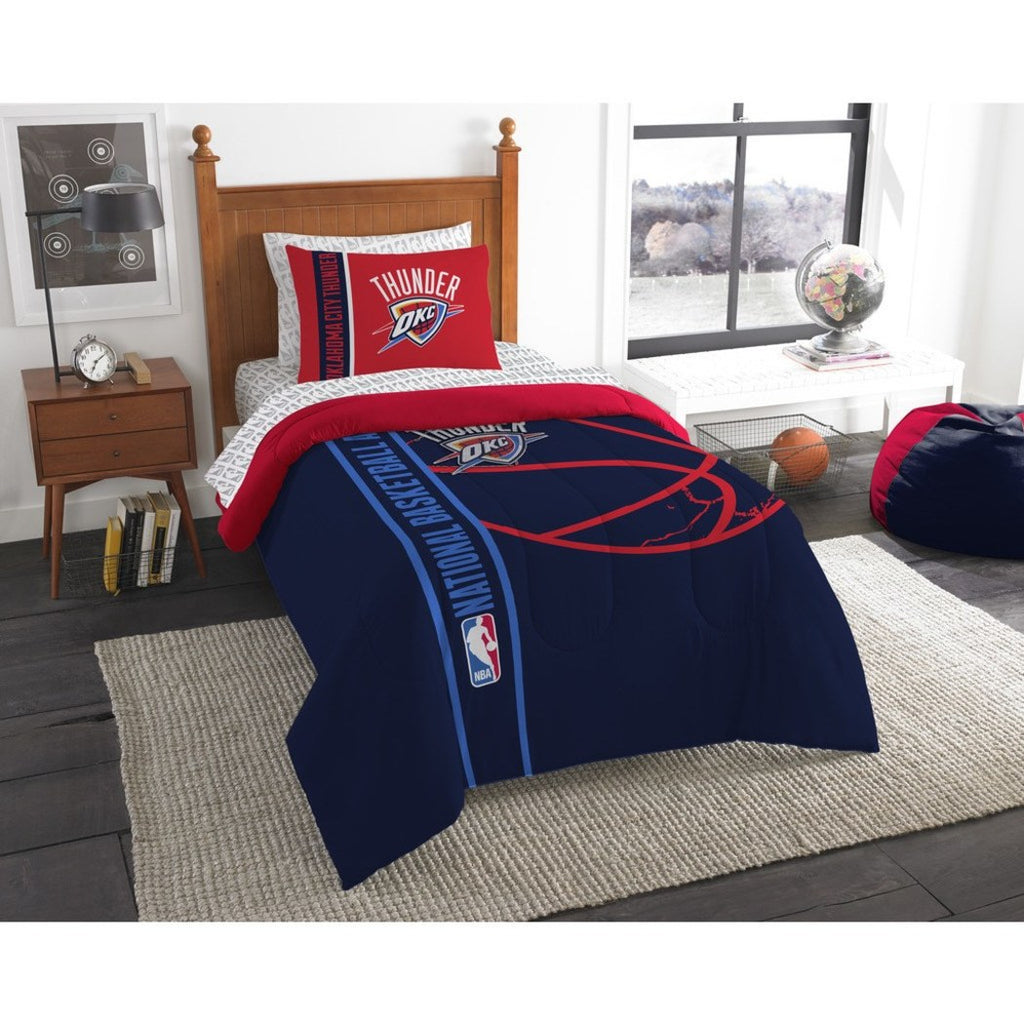 Kids NBA Northwest Thunder Twin Comforter Set Oklahoma City Chesapeake Energy Blue Red Sports Bedding Thunder Merchandise Team Spirit Basketball - Diamond Home USA