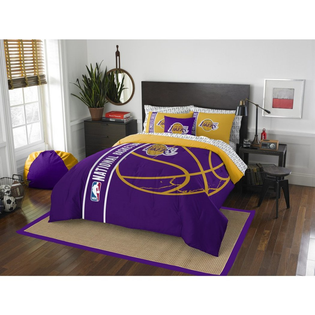 Kids NBA Pacific Lakers Full Comforter Set Los Angeles Staples Center Purple Yellow Sports Bedding Lakers Merchandise Team Spirit Basketball Themed - Diamond Home USA