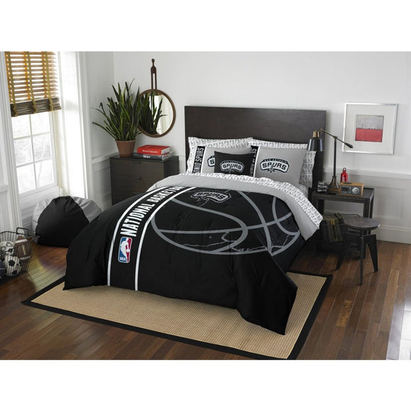 Kids NBA Southwest Spurs Full Comforter Set San Antonio Texas ATT Center Black Silver Sports Bedding Spurs Merchandise Team Spirit Basketball Themed - Diamond Home USA