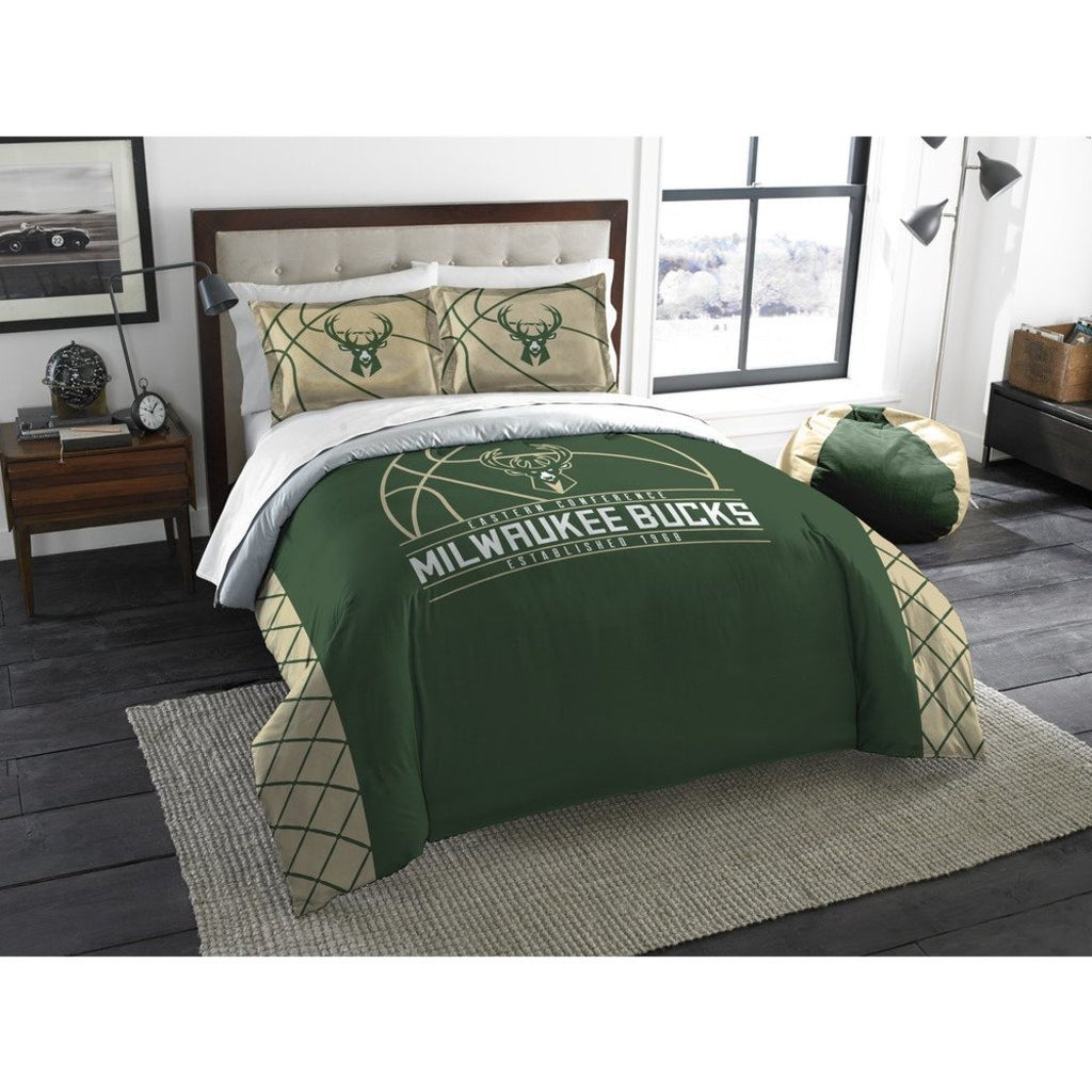 NBA Milwaukee Bucks Comforter Full Queen Set Sports Patterned Bedding Team Logo Fan Merchandise Team Spirit Basketball Themed National Basketball - Diamond Home USA