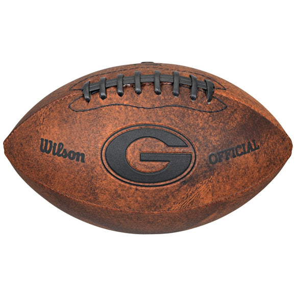 Vintage Georgia Bulldogs 9-inch Leather Football - Diamond Home USA