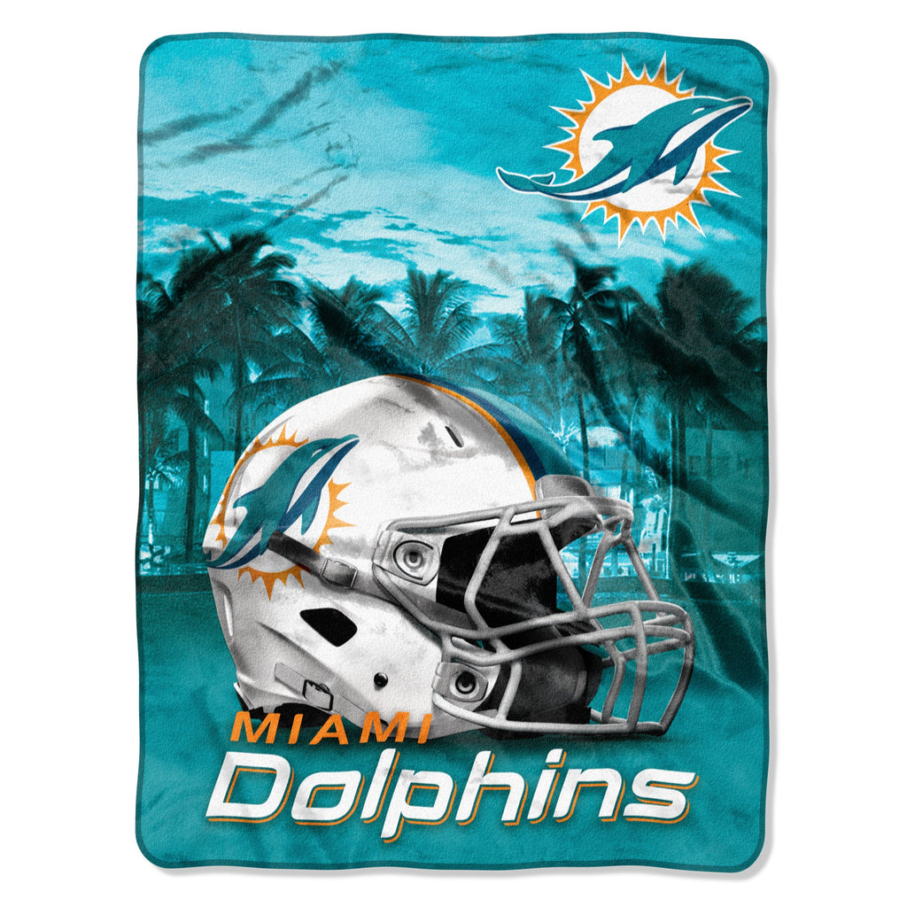 071 Dolphins Heritage Silk Touch Throw Blue Sports Collegiate Victorian Microfiber - Diamond Home USA