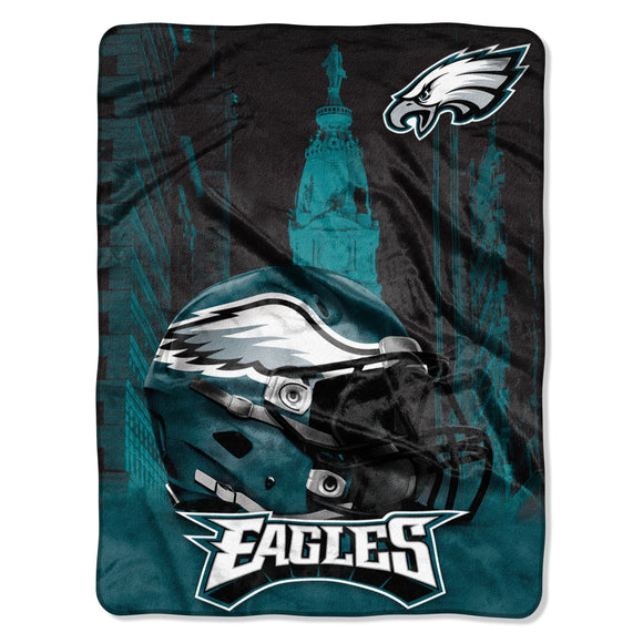 071 Eagles Heritage Silk Touch Throw Green Sports Collegiate Victorian Polyester - Diamond Home USA