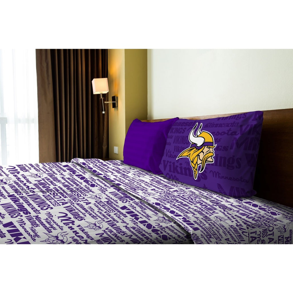 NFL Minnesota Vikings Bedding Sheet Twin Set Sports Patterned Bedding Team Logo Fan Merchandise Team Spirit Football Themed National Football League - Diamond Home USA
