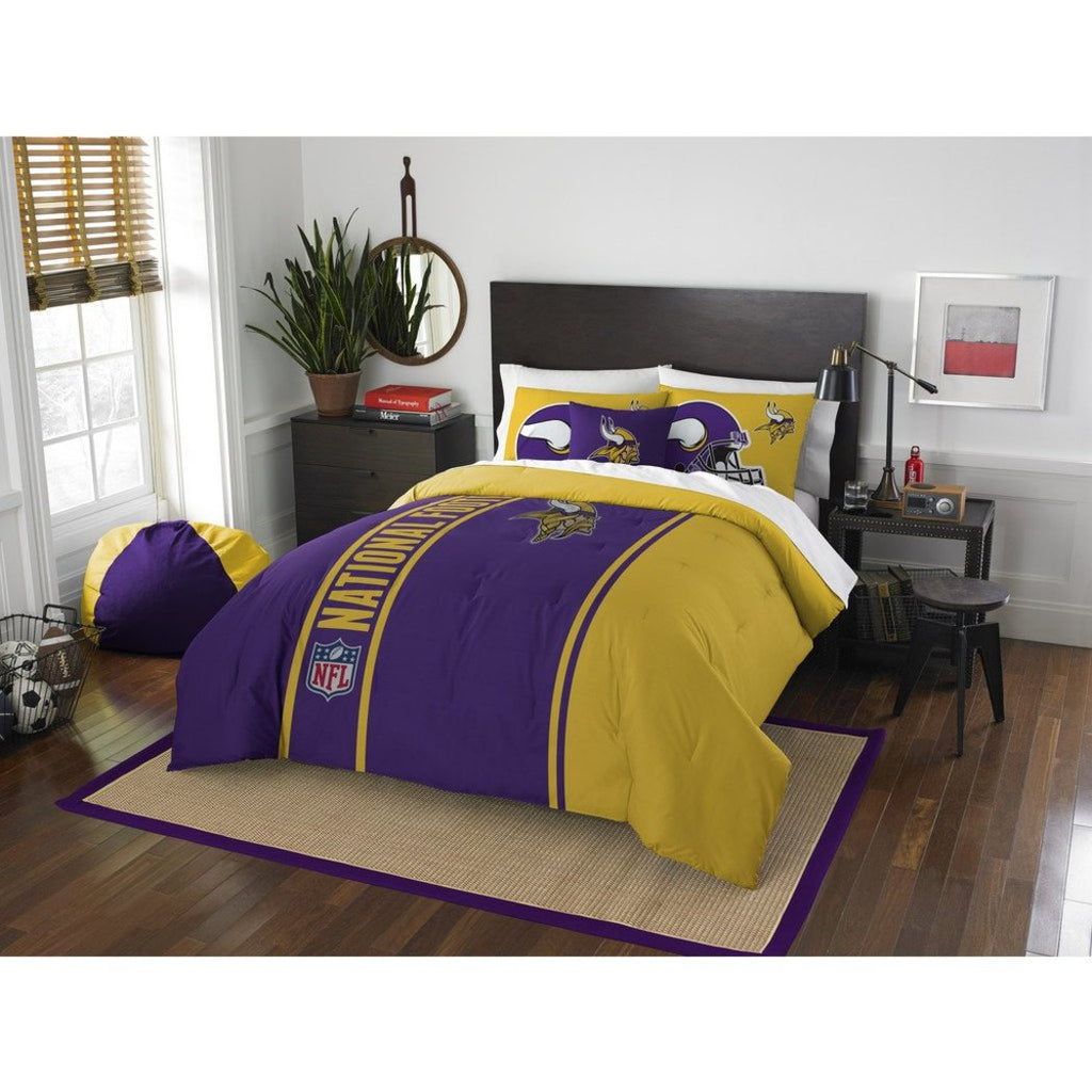 NFL Full Minnasota Vikings Applique Football Team Comforter Sports Fan Bedding Football Themed Team Logo Gold Purple White Vikings Merchandise Team - Diamond Home USA