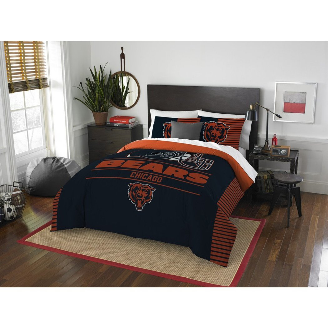 NFL Chicago Bears Comforter Full Queen Set Sports Patterned Bedding Team Logo Fan Merchandise Team Spirit Football Themed National Football League - Diamond Home USA