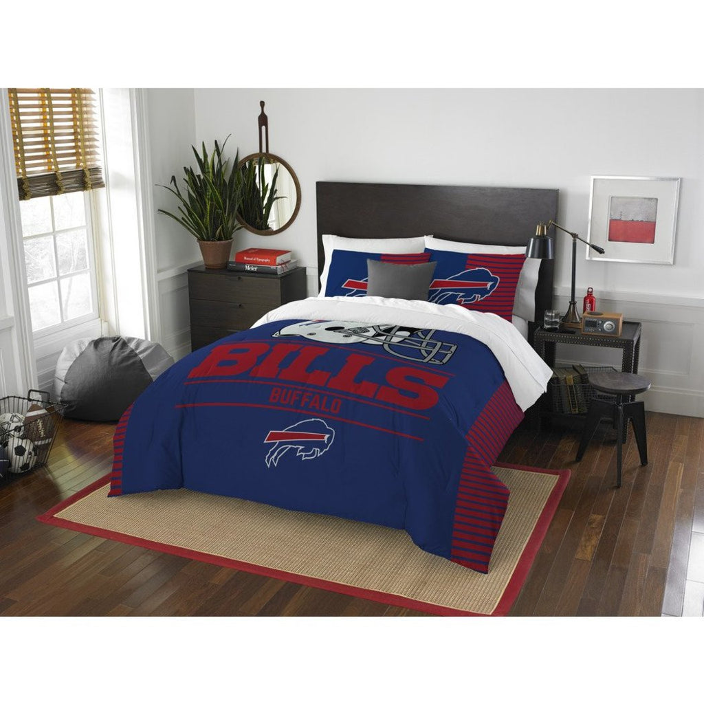 NFL Buffalo Bills Comforter Full Queen Set Sports Patterned Bedding Team Logo Fan Merchandise Team Spirit Football Themed National Football League - Diamond Home USA