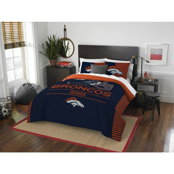 NFL Denver Broncos Comforter Queen Set Sports Patterned Bedding Team Logo Fan Merchandise Team Spirit Football Themed National Football League Orange - Diamond Home USA