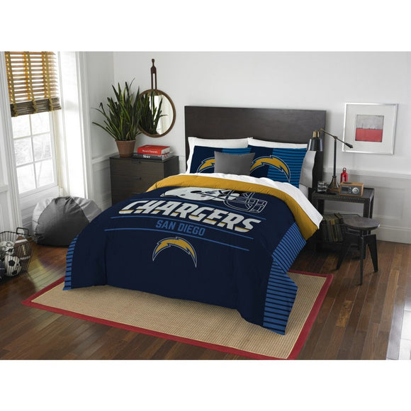 NFL San Diego Chargers Comforter Full Queen Set Sports Patterned Bedding Team Logo Fan Merchandise Team Spirit Football Themed National Football - Diamond Home USA