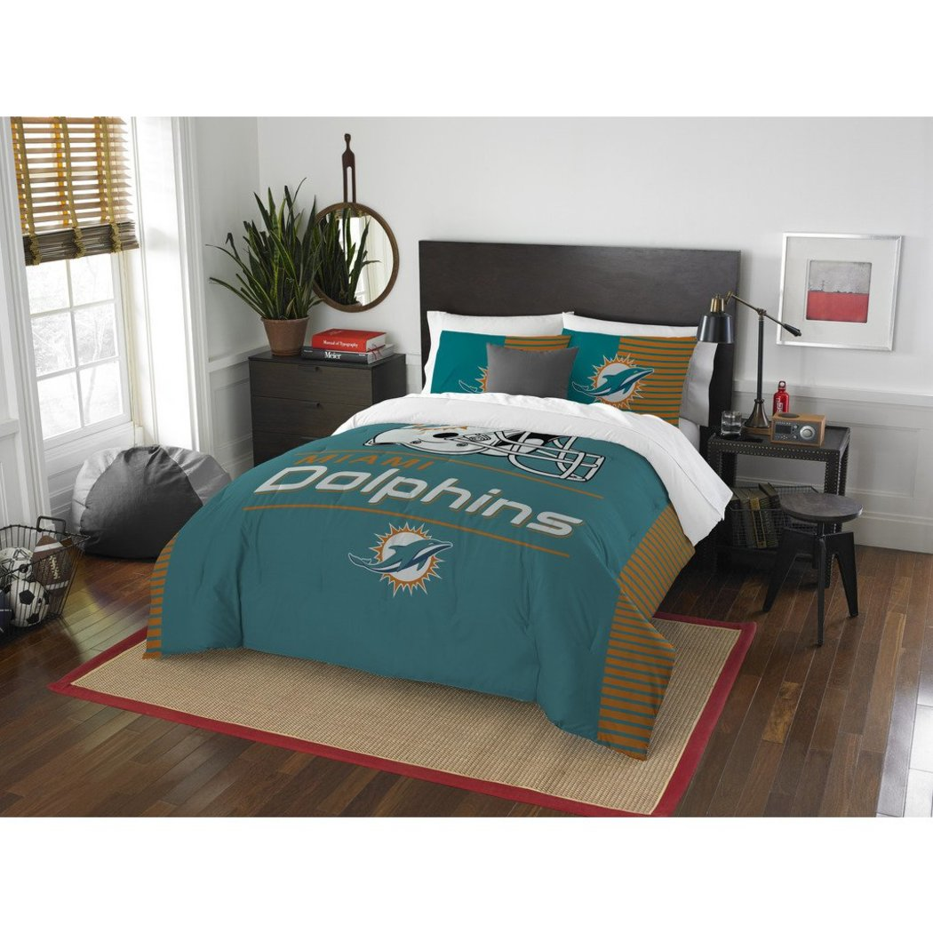NFL Miami Dolphins Comforter Full Queen Set Sports Patterned Bedding Team Logo Fan Merchandise Team Spirit Football Themed National Football League - Diamond Home USA