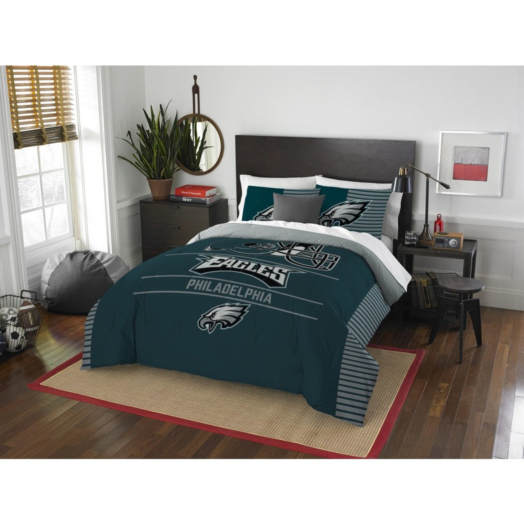 NFL Philadelphia Eagle Comforter Full Queen Set Sports Patterned Bedding Team Logo Fan Merchandise Team Spirit Football Themed National Football - Diamond Home USA