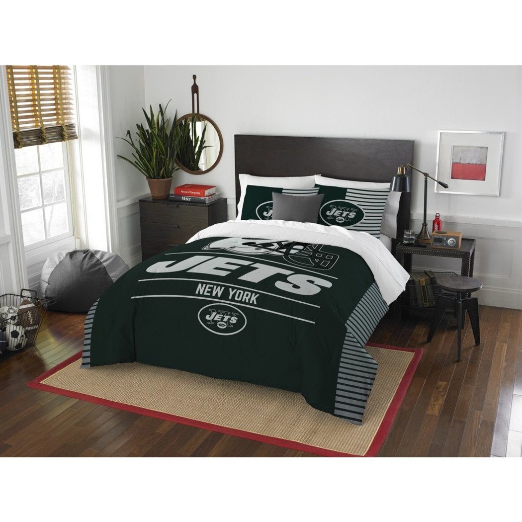 NFL New York Jets Comforter Full Queen Set Sports Patterned Bedding Team Logo Fan Merchandise Team Spirit Football Themed National Football League - Diamond Home USA