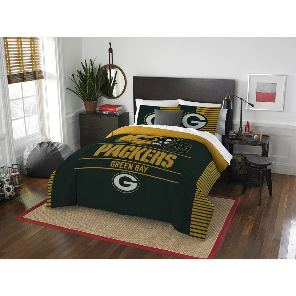 NFL Green Bay Packers Comforter Full Queen Set Sports Patterned Bedding Team Logo Fan Merchandise Team Spirit Football Themed National Football League - Diamond Home USA