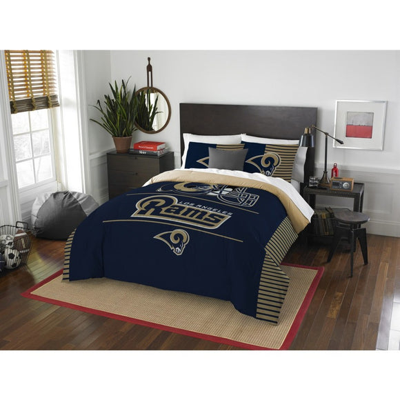 NFL Rams Comforter Full Queen Set Blue Tan Football Themed Bedding Sports Patterned Team Logo Fan Merchandise Athletic Team Spirit Fan Polyester - Diamond Home USA