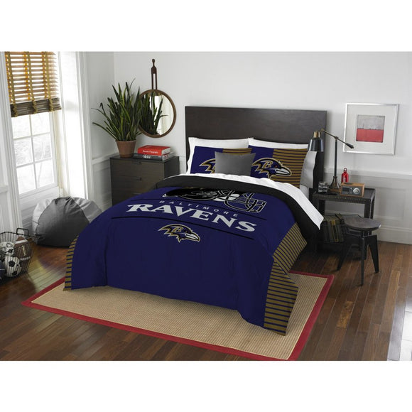 NFL Baltimore Ravens Comforter Full Queen Set Sports Patterned Bedding Team Logo Fan Merchandise Team Spirit Football Themed National Football League - Diamond Home USA