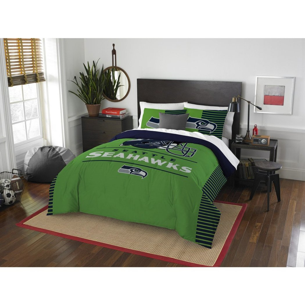 NFL Seattle Seahawks Comforter Full Queen Set Sports Patterned Bedding Team Logo Fan Merchandise Team Spirit Football Themed National Football League - Diamond Home USA
